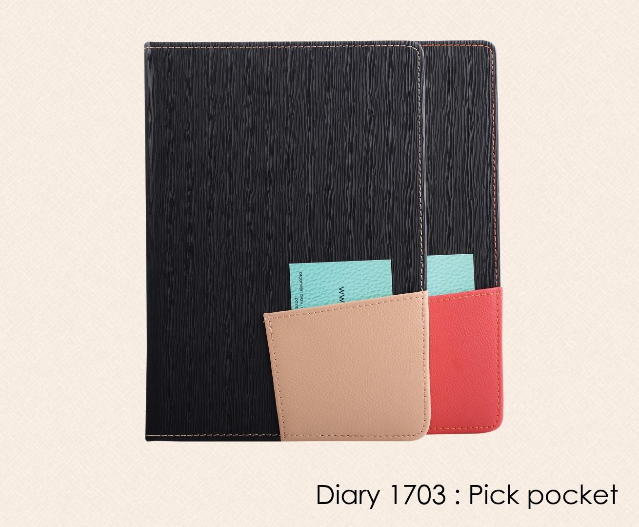 สมุดโน๊ต ไดอารี่ ปกหนัง Notebook Diary : DA  1703 Pick pocket